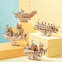 creative 3d wooden puzzle sailing ship eiffel tower owl storage box toys assembled kits desk decoration for children toy gift