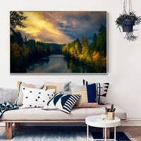 Peinture a lhuile de paysage de foret  toile dart de paysage  salon  couloir  bar  decoration murale de maison
