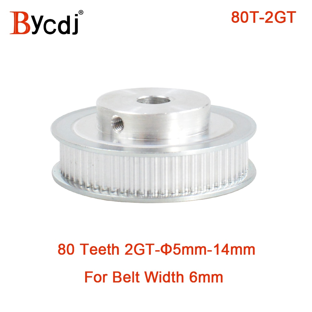 80 Teeth 2M 2GT synchronous Pulley Bore 5/6/6.35/8/10/12/14mm for width 6mm 2MGT Timing Belt GT2 pulley Belt 80Teeth Type B