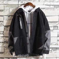 fashion brand stitching lapel casual jacket mens korean style ulzzang thin denim jacket hong kong style loose top mens jacket