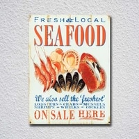 on sale here fresh local seafood tin sign metal sign metal poster metal decor metal painting wall sticker wall sign