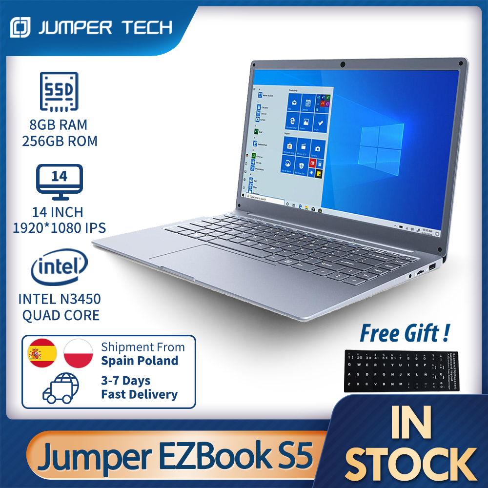 Notebook 2021 Jumper EZbook S5 8GB 256GB Intel N3450 Ultra Slim Dual Core Win 10 Laptop 14 Inch 1920*1080 IPS Screen Computer