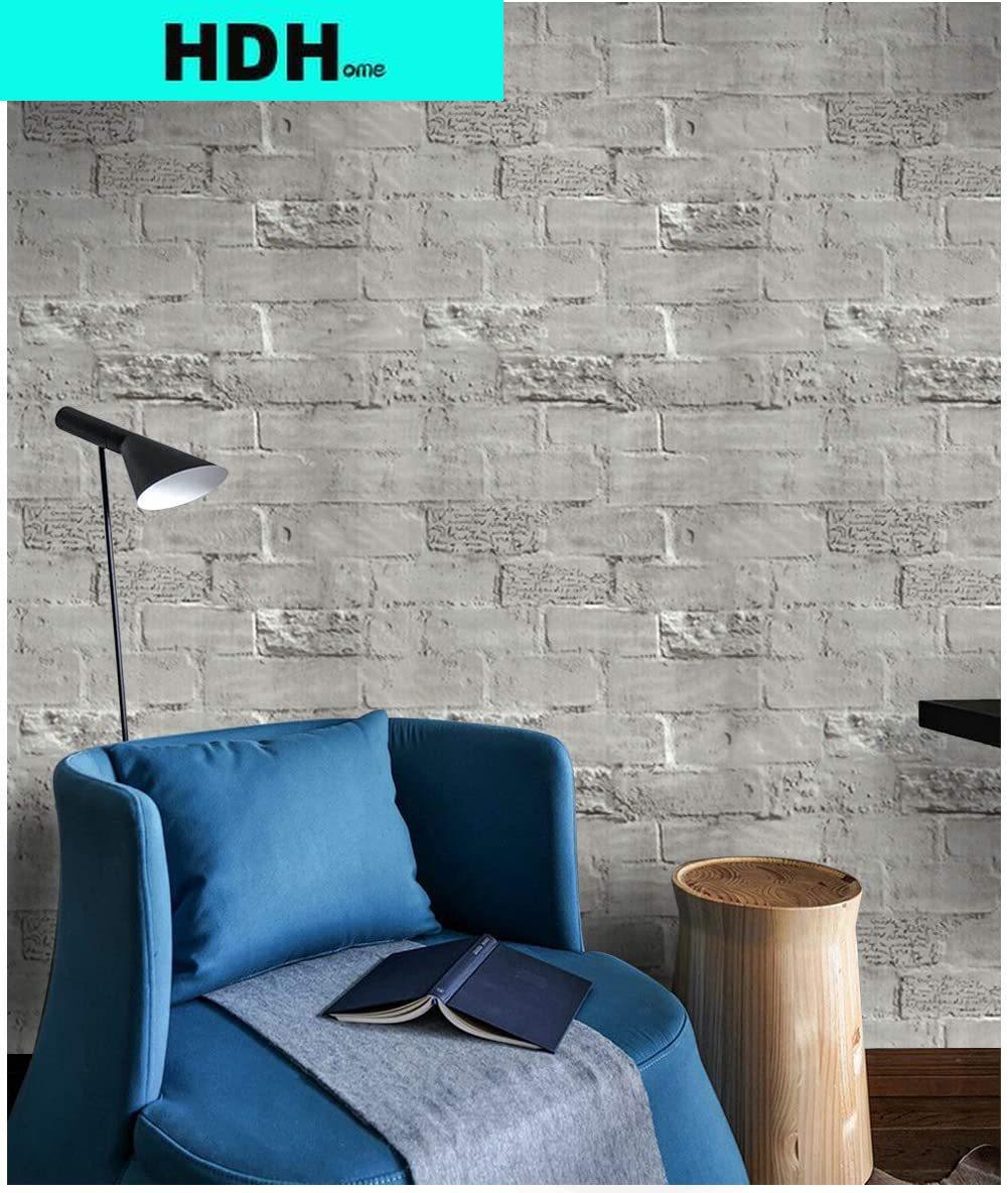 Grey Brick Peel and Stick Wallpaper Self-Adhesive Faux Brick Wall Paper Removable Grey Brick Wallpaper Brick Contact Paper Film