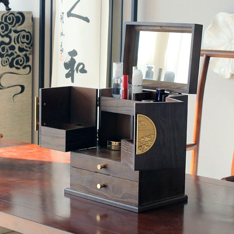 سعة كبيرة صندوق تخزين مستحضرات التجميل ماكياج المنظم الخشب مجوهرات تخزين أدراج Rangement Maquillage نوم المنظم