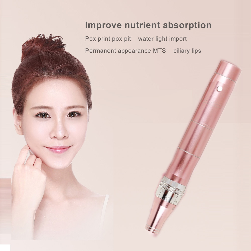 Micro Tiny Needles Stimulate Skin Tightening Remove Scar Reduce Skin Wrinkles Scar Stretch Marks Removal Pink Device Derma Pen