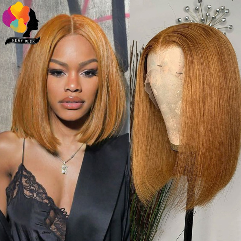 Ginger Blonde Bob Human Hair Wigs Straight Burgundy Lace Front Wigs For Woman 99j Red Brazilian Remy T Part Human Hair Remyblue