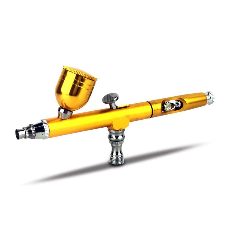 Dual Action Airbrush Spray Gun Kit For Makeup Nail Art Design Tattoo Cake Decorating DIY Nail Art 0.3mm 7cc Cup Yellow Black Red