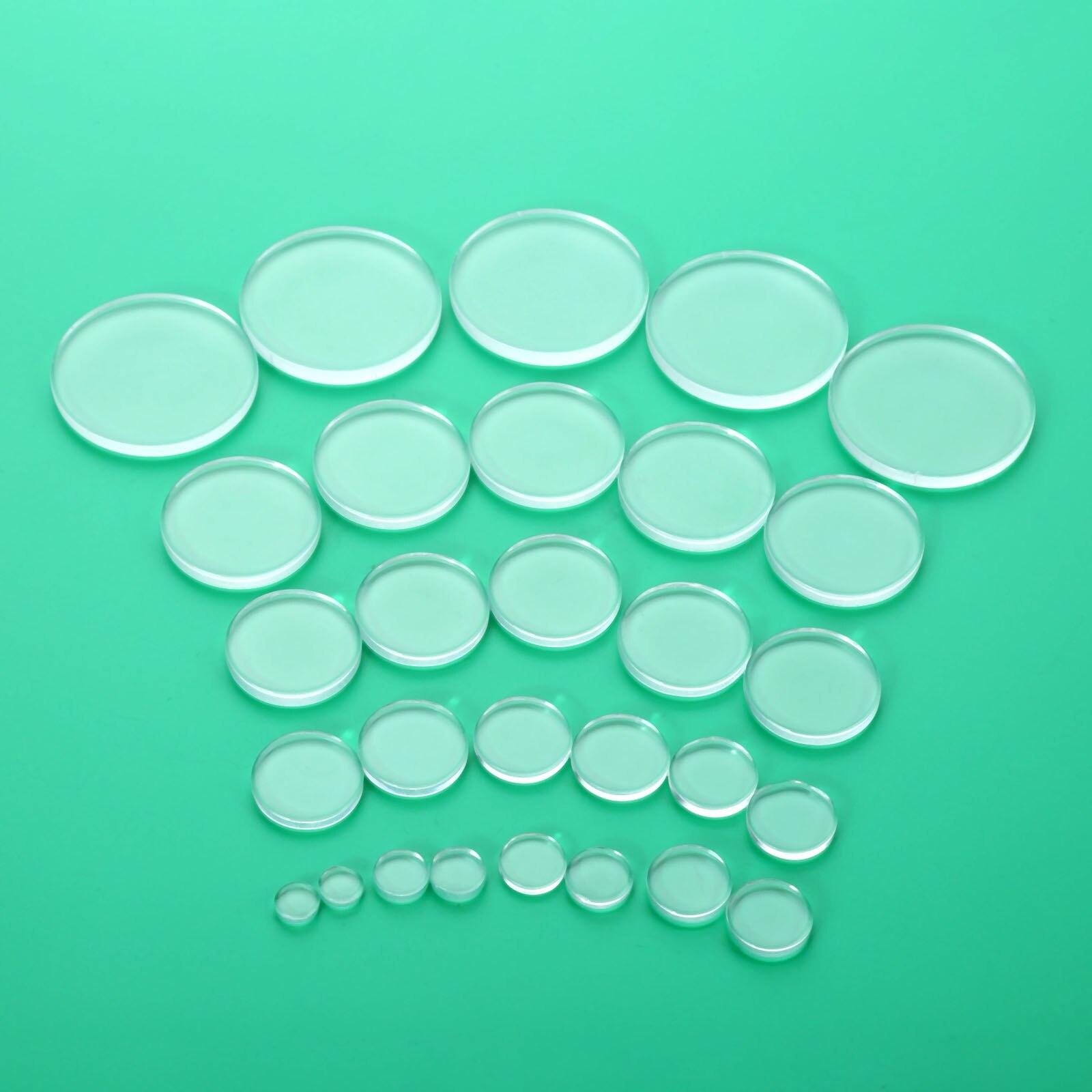100/50/20/10/5 piezas de vidrio transparente refrigerador etiqueta ambos lados plana redonda de vidrio claro accesorios de joyería hechos a mano cabujón