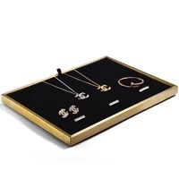 oirlv jewelry display metal ring necklace display stand with leather showcase jewelry tray stand