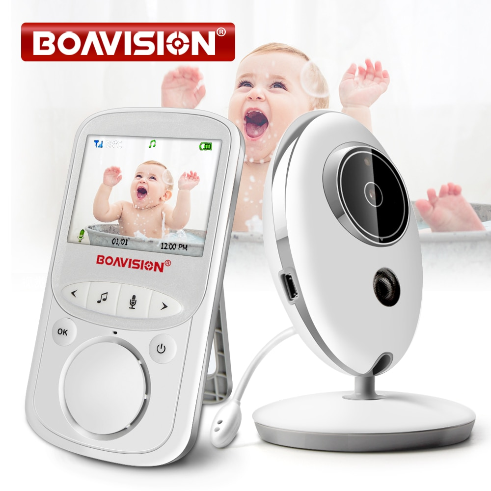 BOAVISION VB605 المحمولة 2.4 بوصة LCD اللاسلكية مراقبة الطفل فيديو راديو مربية كاميرا انتركم IR Bebe كاميرا اسلكية تخاطب جليسة الأطفال