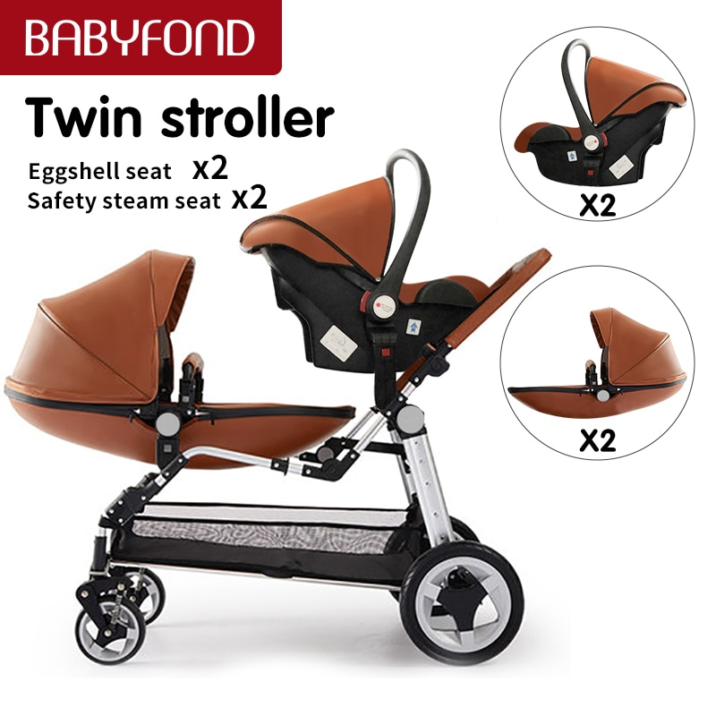 Luxury twins stroller aluminum frame leather twin  pram baby can sit and lying with car seat double stroller enlarge