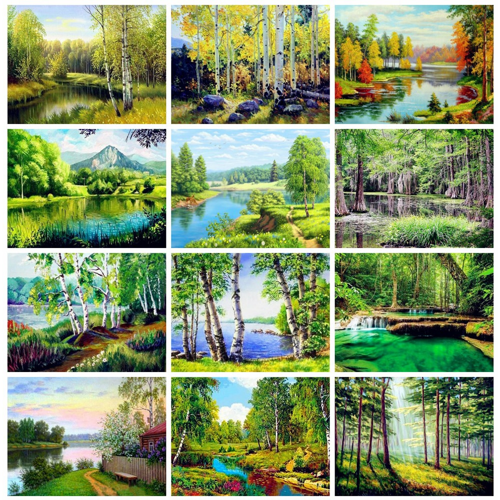HUACAN 5d pintura de diamante completo bosque hecho a mano regalo mosaico paisaje Natural bordado río Diamante arte
