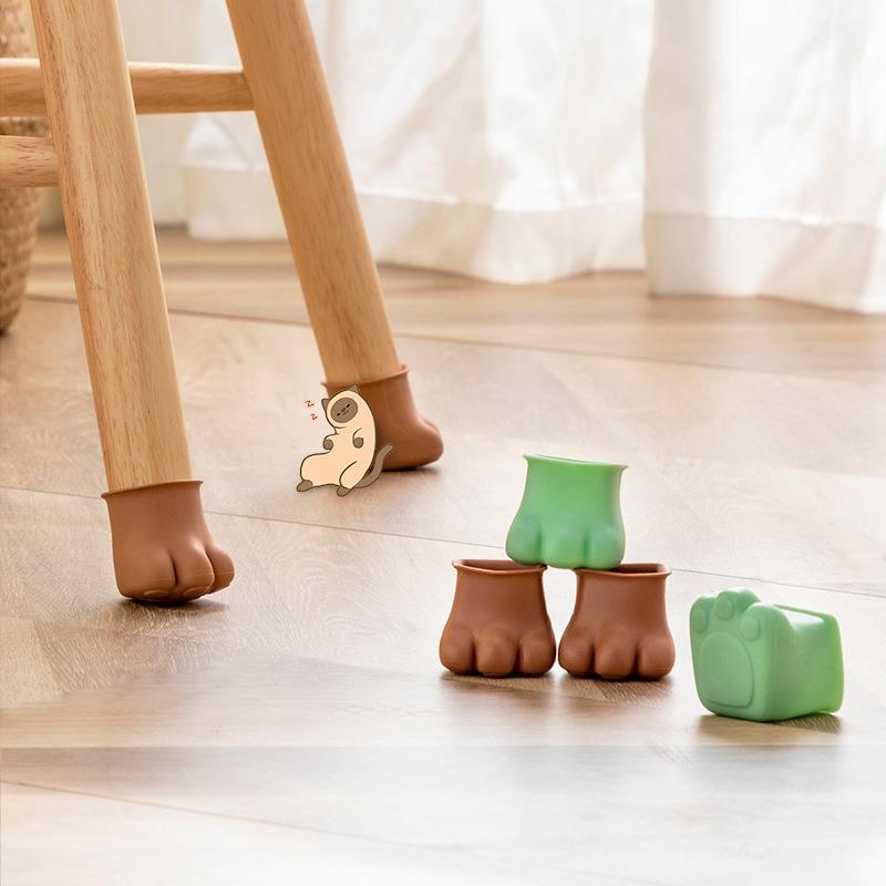 4Pcs Silicon Table Feet Caps Anti-slip Chair Leg Wood Floor Protection Mat