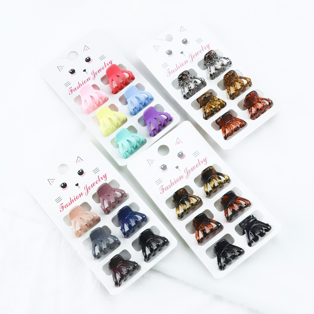 New Flower Bow Small Crab Hair Claw Clip Women Cute Dot Leopard Brown Simple Plastic Barrette Clamp Hair Styling Hair Accessorie