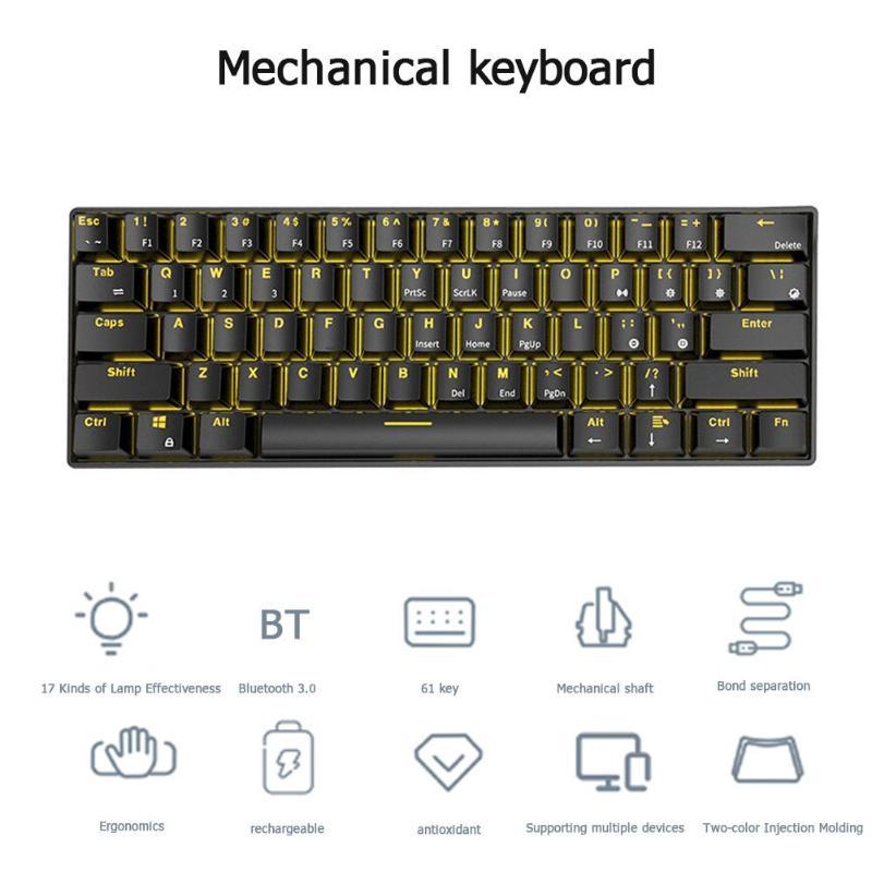RK61 Wireless Bluetoot Mechanical Gaming Keyboard 61 Keys RGB Single Backlight Mechanical Green Shaft Game Keyboard enlarge