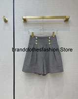 2021 spring new casual high waist shorts metal hardware button row sexy female short pants