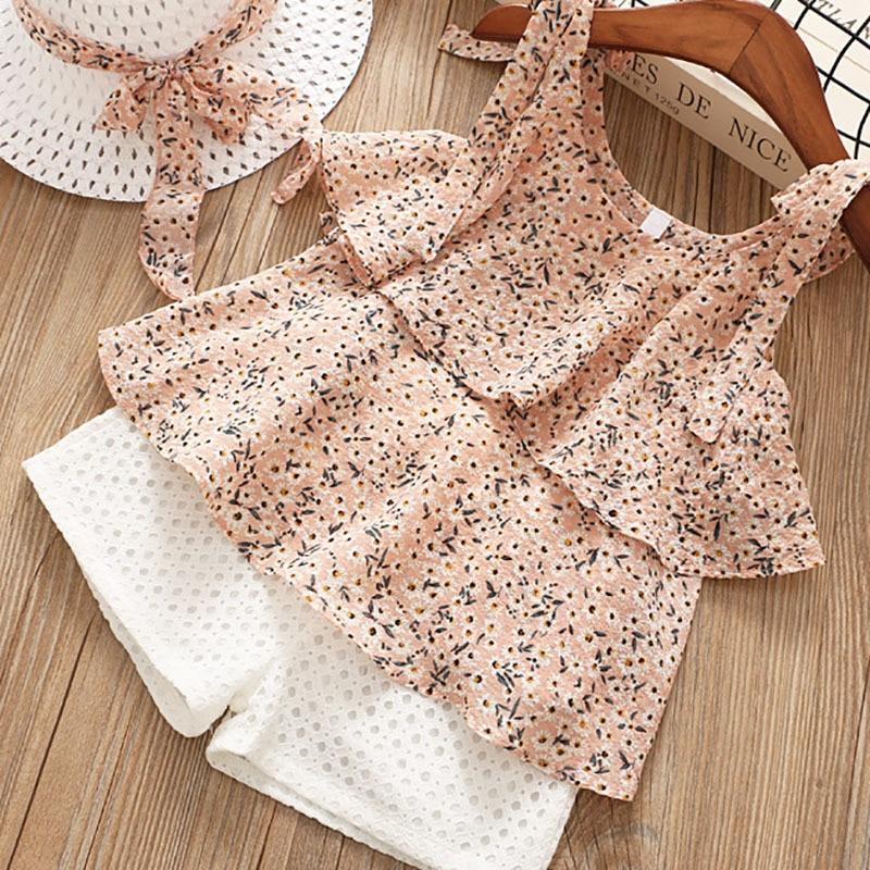 Meninas define chiffon sling floral sem mangas camisa + shorts de duas peças + chapéu de verão novas roupas infantis roupas femininas do bebê da menina