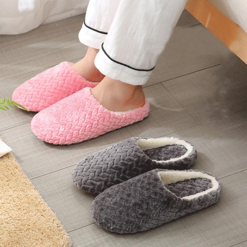 Women Indoor Slippers Warm Plush Home Slipper Autumn Winter Shoes Woman House Flat Floor Soft Slient Slides for Bedroom