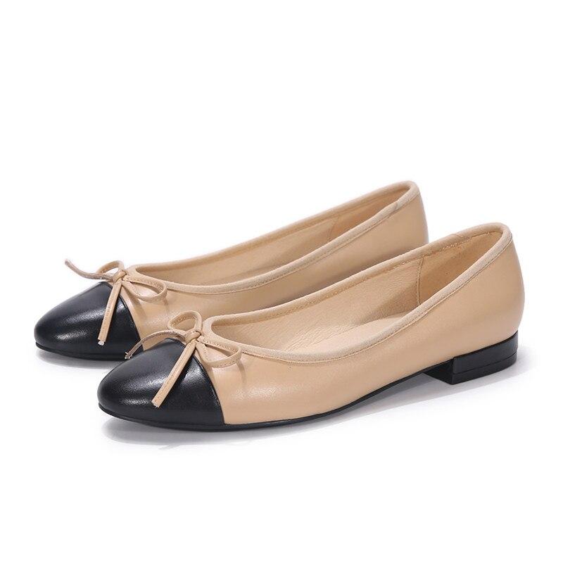 2021 ربيع جديد كلاسيكي مستدير تو القوس الباليه الشقق حجم كبير أحذية النساء المتسكعون أحذية السيدات الأسود لوليتا أحذية zapatos mujer