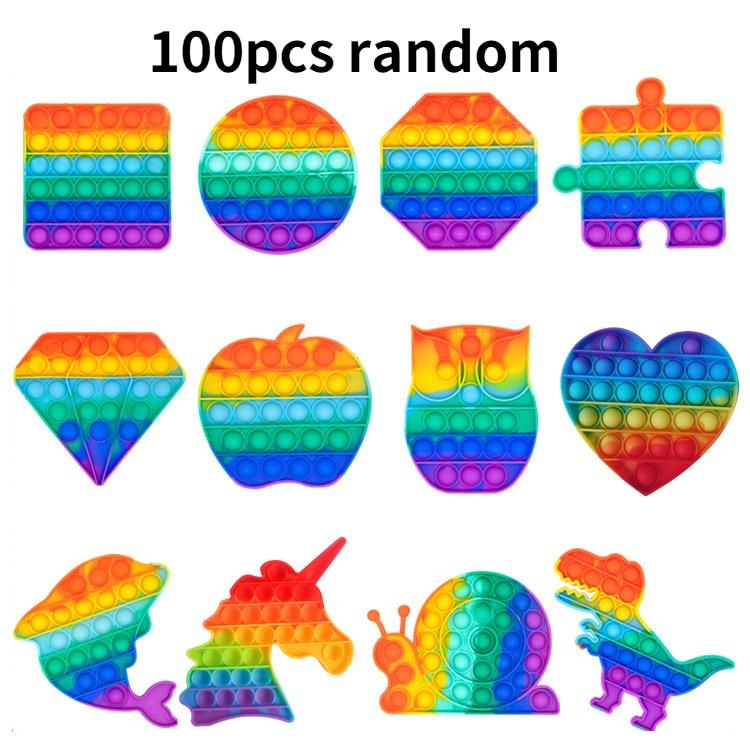 100pcs Random 16 designs Fidget Toys Its Bubble Simple Dimple Rainbow Autism Special Needs Sensory Anti-stress Relief Toys Kids