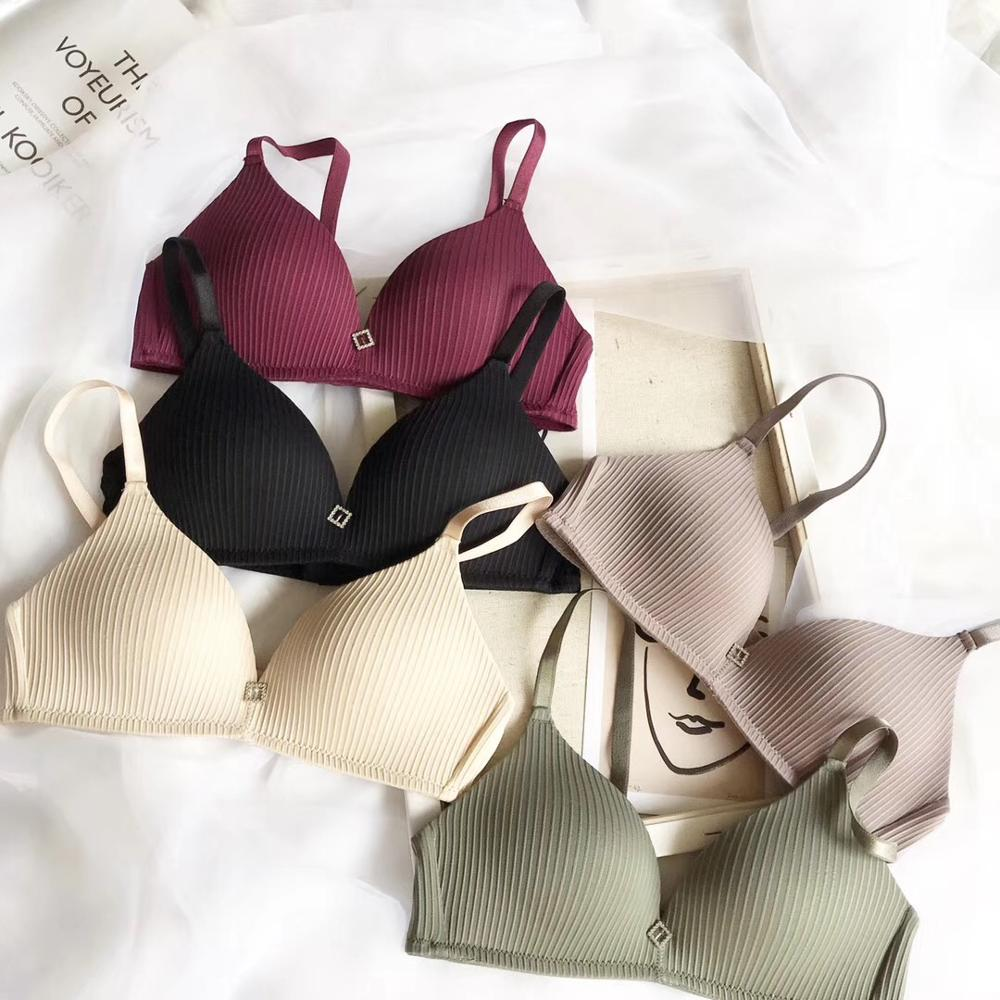 Girl Korean smooth surface no trace sexy no ring small chest stripes small bra