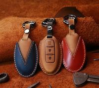 Car Handmade Leather Key Case Holder For Nissan X-Trail T32 T31 Murano Qashqai Juke Versa Note J11 J10 Kicks For Infiniti EX FX
