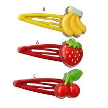 Femmes filles cuisson peinture BB pince à cheveux belle 3D fraise banane cerise fruits résine goutte deau Snap Barrettes cheveux accessoires