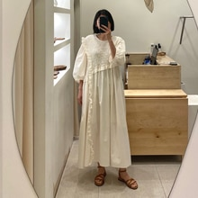Autumn New 2021 Retro Design Fungus Long Solid Color Round Neck Long Sleeve Japanese Style Dress Loo