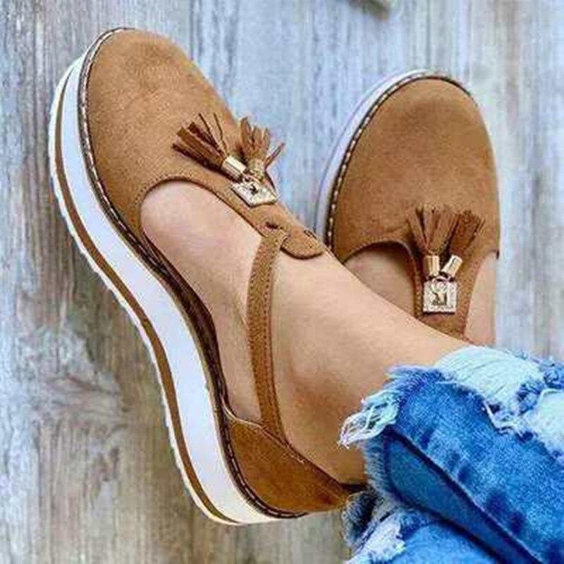 Sandalias de mujer, zapatos de plataforma plana con tacón con hebilla y flecos, sandalias informales Creepers para mujer, sandalias de talla grande 35-43, Envío Gratis
