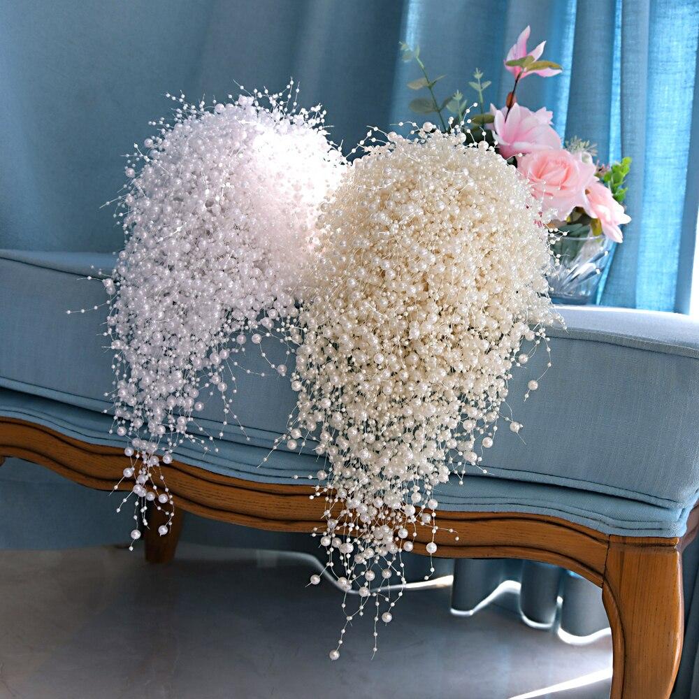 Стриксы F24 роскошный свадебный букет с жемчугом свадебный цветок свадебный букет полный букет с жемчугом ручной работы; Waterfull букет невесты