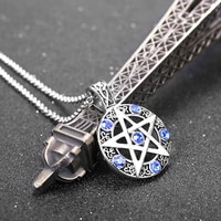 pentagram round hollow pendant necklace couple mens womens necklace blue stone inlaid viking rune accessories party jewelry