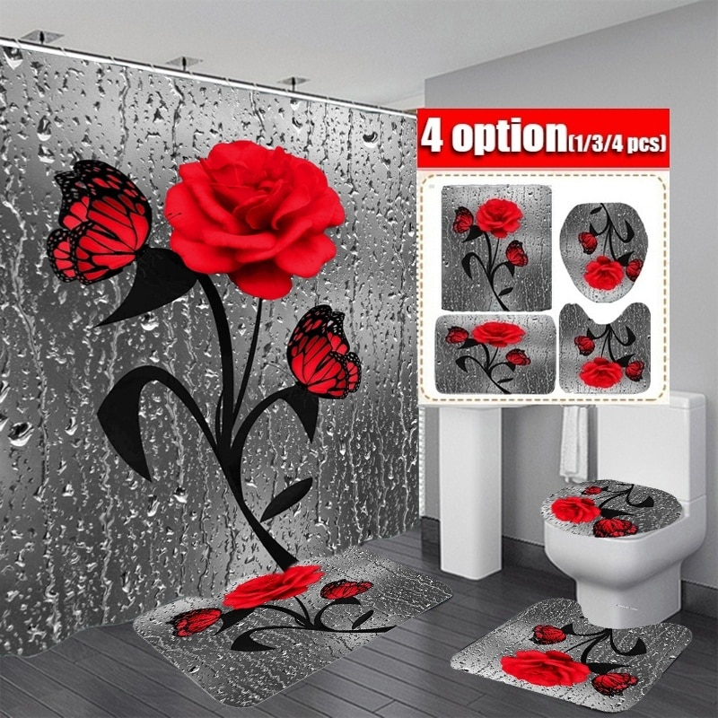 Red Rose&Butterfly Bathroom Non-slip Mat Set Durable Waterproof Shower Curtain Set Pedestal Rug Lid Toilet Cover Bath Mat Rugs