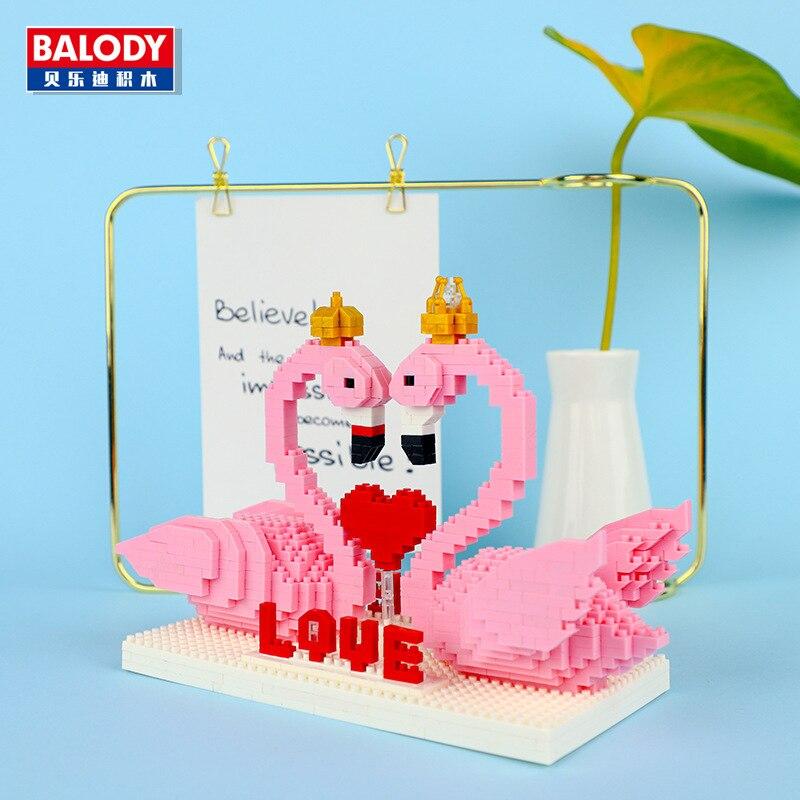 830 pçs rosa flamingo cisne diamante partícula bloco de construção puzzle montado bloco dia dos namorados presente menina dos desenhos animados brinquedo