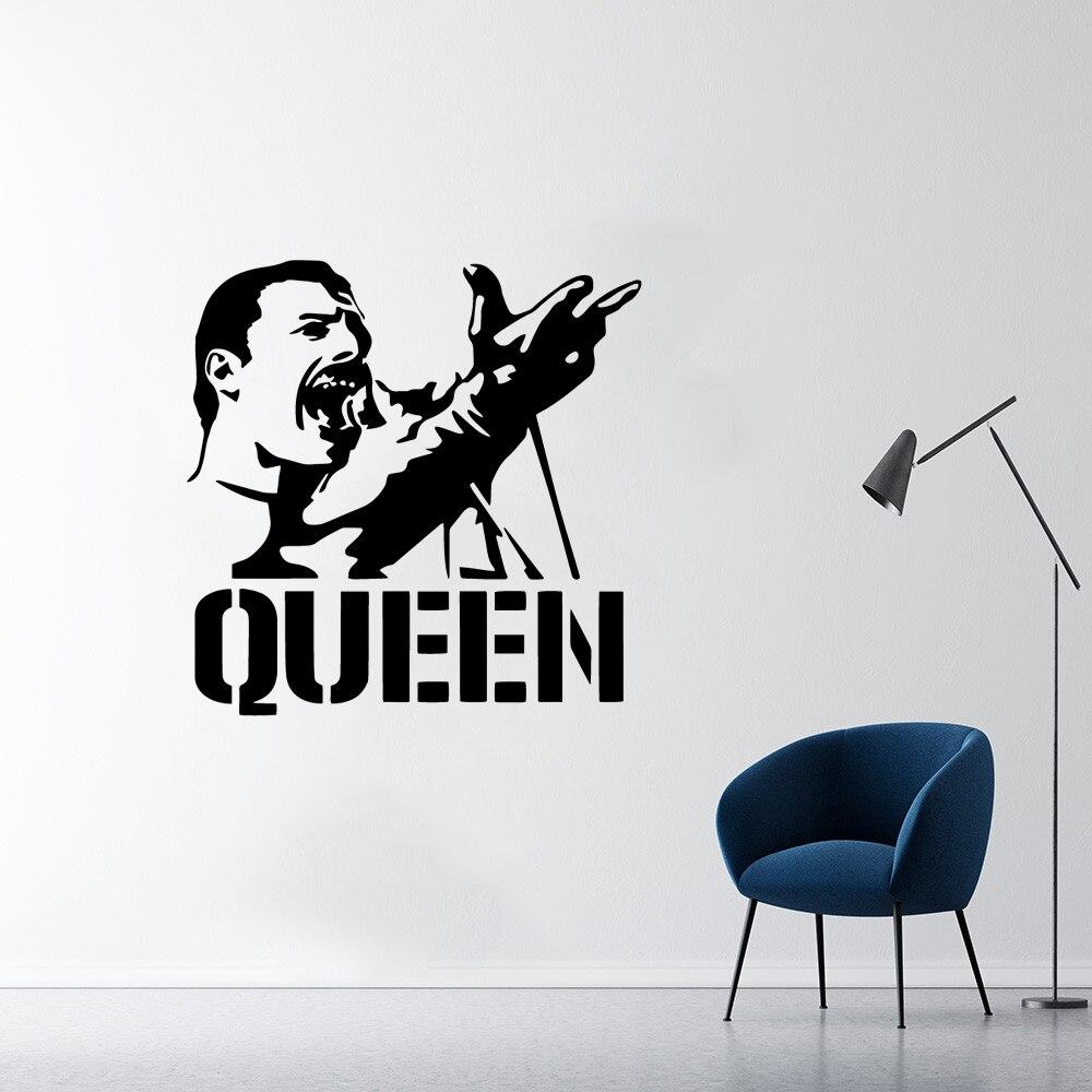 Autocollants muraux en vinyle Freddie Mercury Queen Band, décoration moderne pour la maison, décoration murale pour chambre d'enfants