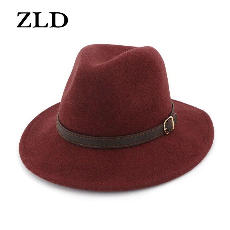 ZLD 100% Lã Velejador Flat Top Hat Para Mulheres dos homens de Inverno Auturmn Sentiu Chapéu de Aba Larga Fedora Cavalheiro Prok torta de Coco Jogador