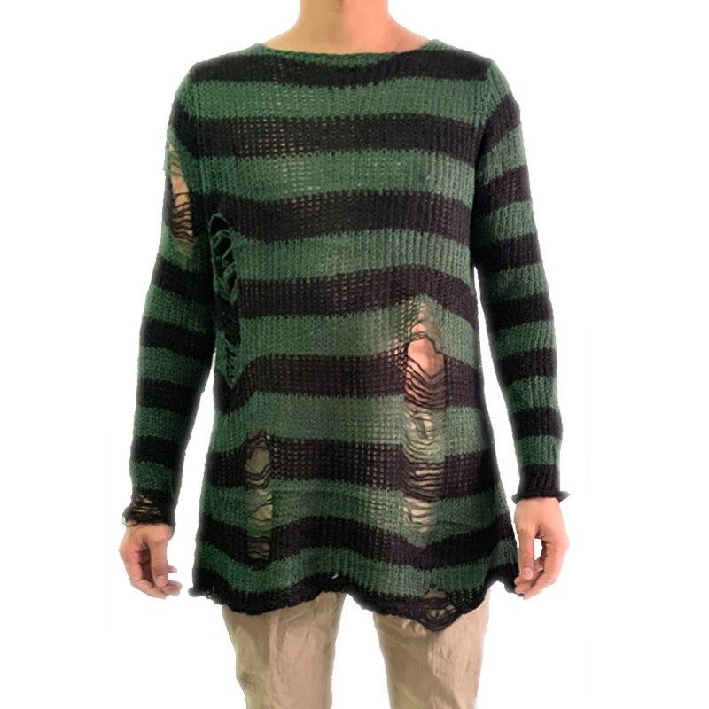 Длинный мужской свитер, стрейчевый тонкий пуловер, сломанный свитер, вязанные Джемперы 2020, панк, готика, крутой мужской полосатый свитер с п...
