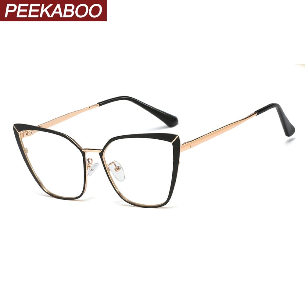 Peekaboo metal eyeglass frames for women cat eye accessories fashion clear lens gold pink female glasses frame prescription gold frame pink cat eye stylish sunglasses