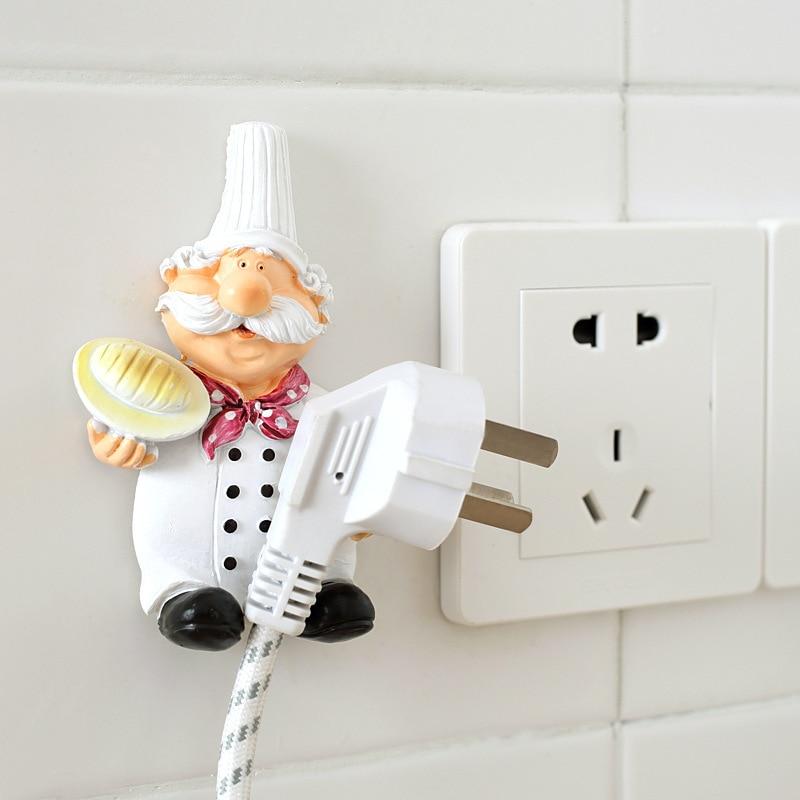 1PC Useful Cartoon Cook Chef Outlet Plug Holder Cord Storage Rack Decorative Wall Shelf Key Holder Shelves Home Kitchen Hook
