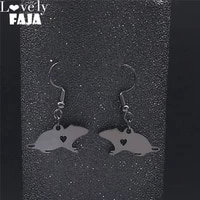 mouse stainless steel small earrings for women black color small drop earrings jewelry joyeria acero inoxidable mujer e3536s03
