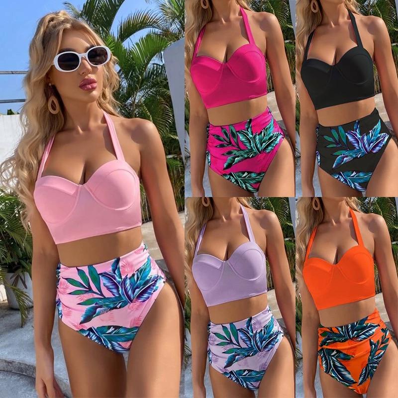 Conjunto de Bikini de cintura alta para mujer, Bañador con estampado de...