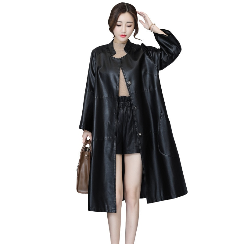 Women vintage faux leather coat long jacket 2021 pu leather trench coat women 2021 long PU jacket women long Plus size PU coat