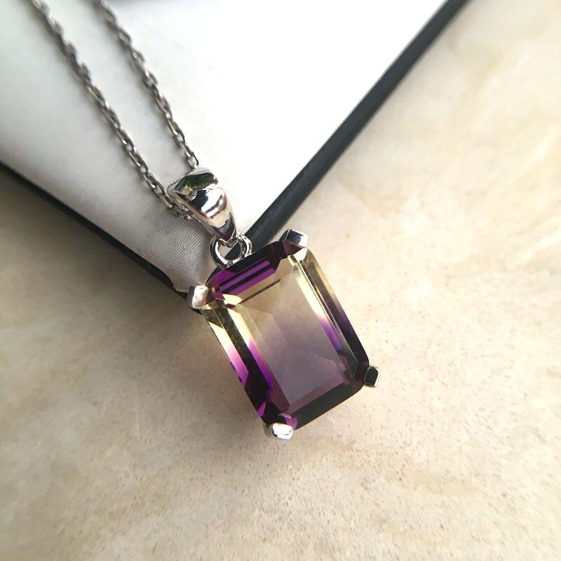 CSJ joyería fina piedra preciosa de cuarzo ametrina noble buen oct10 * 14mm colgante o collar de plata esterlina 925 para mujer regalo de señora
