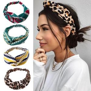 Richkeda Store Fashion Floral Women Headband Hair Accessories Leopard Cross Knotted Bow Chiffon Hair Band Boho Headdress Ladies