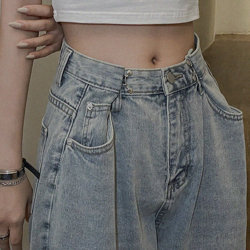 Spring and Summer Korean Style Fashionable All-Matching Chic Elegant Jeans Women's Retro Loose Strai