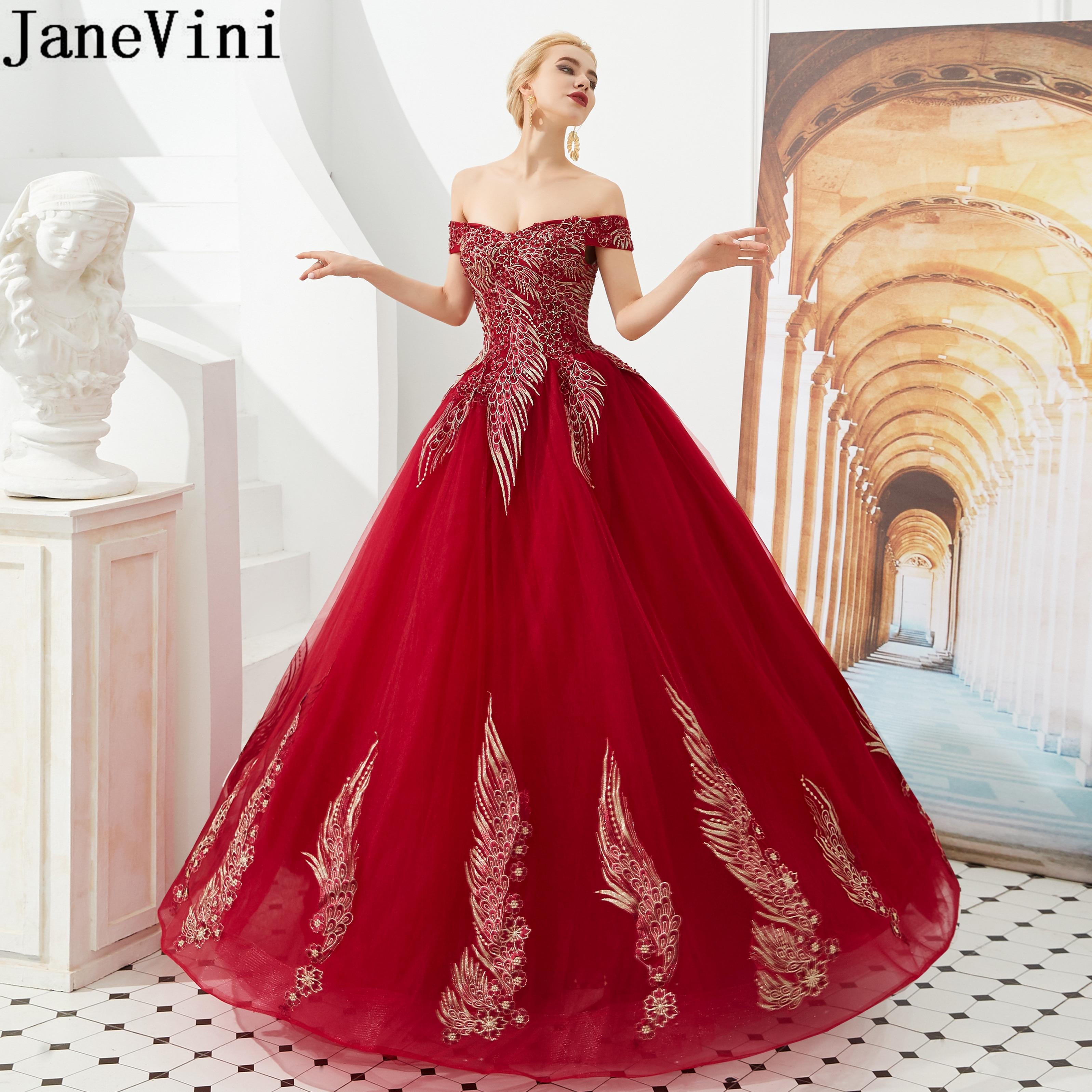 JaneVini suave tul Burdeos vestidos de fiesta de promoción para muchachas de hombro Apliques de encaje noche vestido de fiesta 2020 ocasión vestido