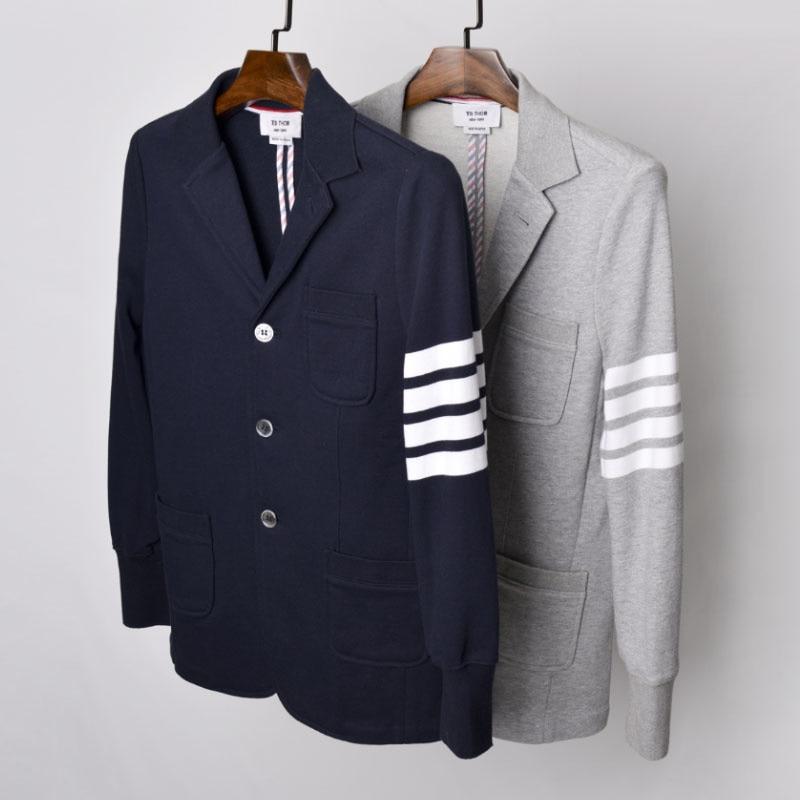 موضة TB 2021 THOM ماركة السترة الرجال البريطانية رداء غير رسمية ملابس رجالي تلائم الرجل النحيف سترة الربيع والخريف القطن معطف