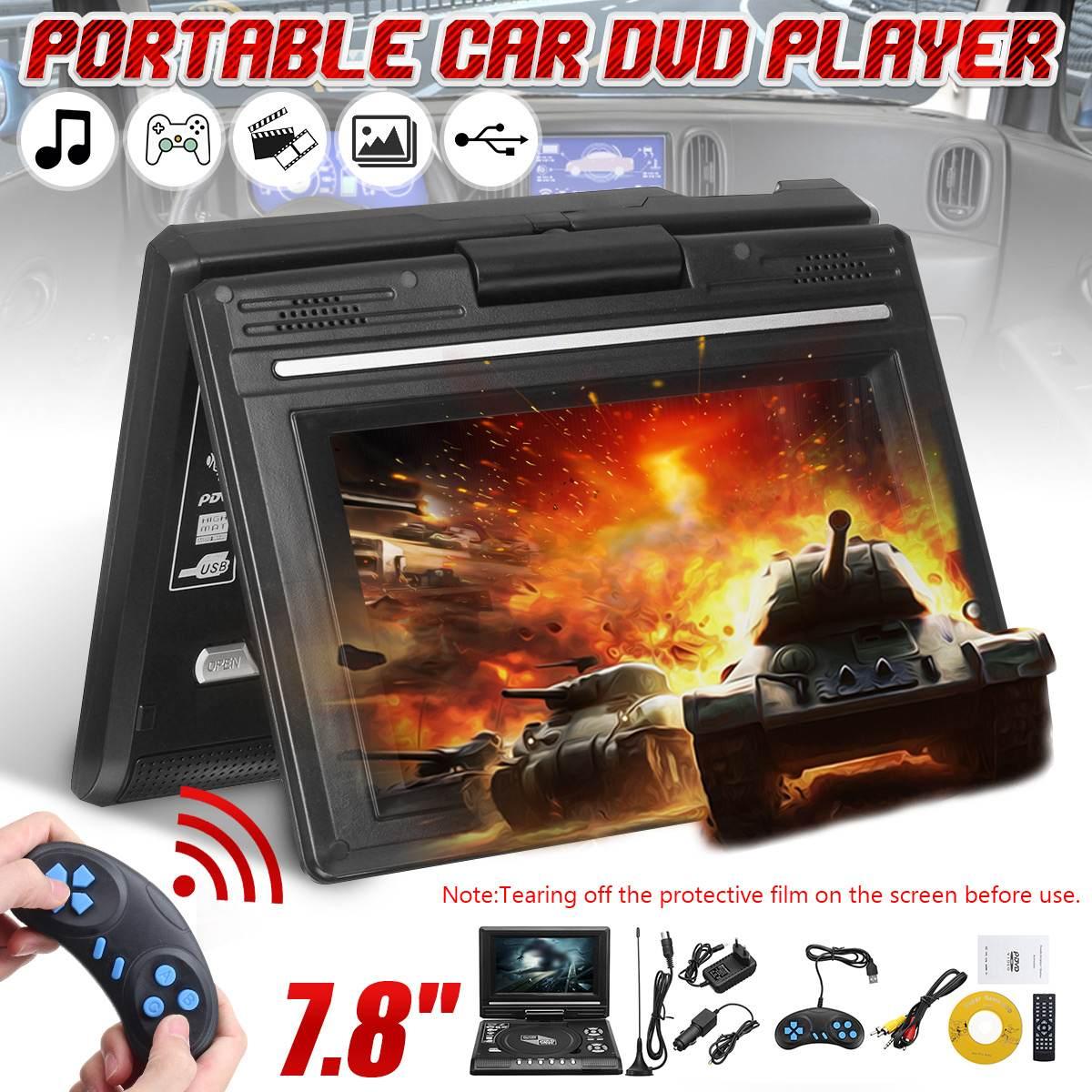 Portátil de 7,8 pulgadas HD TV casa coche reproductor de DVD VCD CD MP3 DVD USB SD reproductor de tarjetas RCA TV Portatil Cable juego 16:9 rotar pantalla LCD
