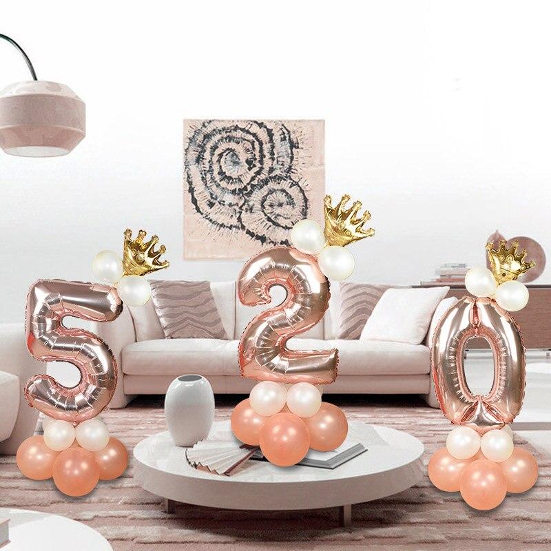 Rose Gold 1 2 3 4 5 6 7 8 9 Aantal Kroon Folie Ballon Gelukkige Verjaardag Opblaasbare Ballen Bruiloft feestelijke Verjaardag Feestartikelen