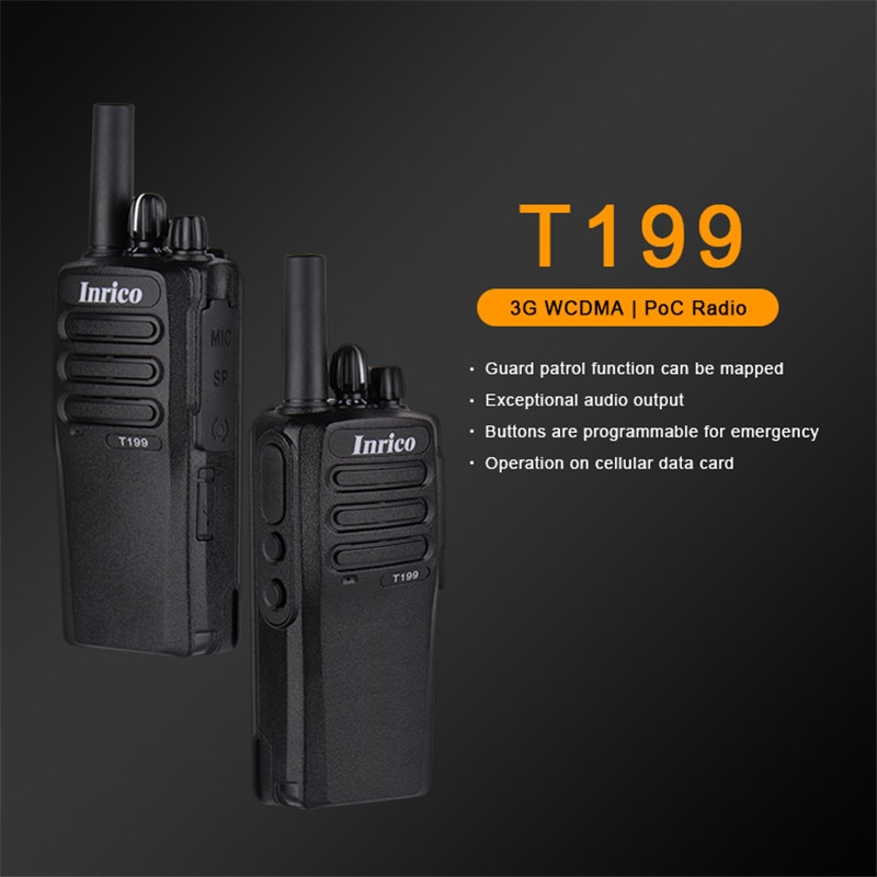Inrico T199 Zello app 3G portable talk radio poc walkie talkie Gps GSM WCDMA long range walkie talkies bluetooth intercom