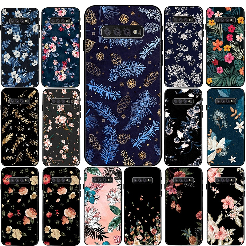 flowers Couple Silicone Phone Case for Samsung Galaxy S6 S7 Edge S8 S9 S10 S20 Plus Lite S20 Ultra S